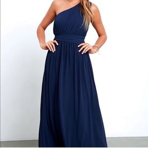 Lulu's Navy Blue one shoulder maxi dress